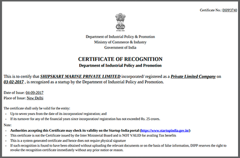 CERTIFICATE OF RECOGNITION FROM DIPP